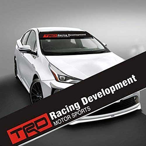MYCXS TRD Front Windshield Banner Decal 136x21cm Reflective Car Sticker for Toyota TRD Racing Development Auto Exterior Modifield Accessories (with Black Background)