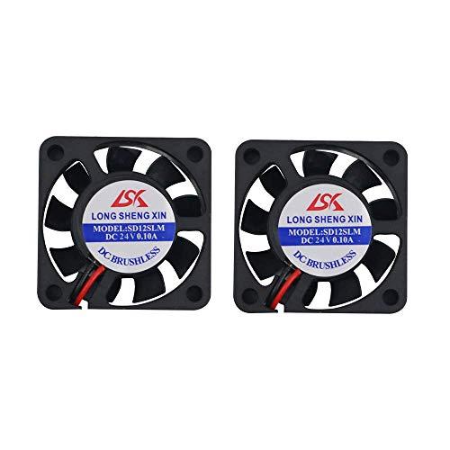 HAWKUNG 2 Pieza Impresora 3D Ventilador de Enfriamiento Extrusora Accesorio 4010 40 x 40 x 10 mm DC 24V 2 Pin Conector Rodamiento Silent Brushless Coolsink Heater Blower para impresora 3D, Negro