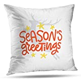 shotngwu Christmas Holly Decorative Throw Funda de Almohada Cover, Christmas White Border Flower Holly Garland Red Floral Plant Cushion Cover for Bedroom Sofa Living Room 18X18 Inches