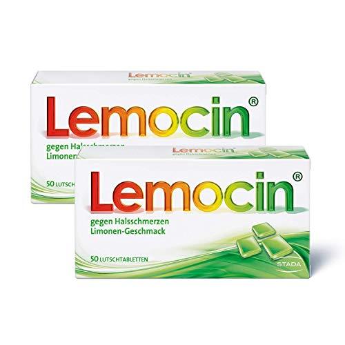 Lemocin Halsschmerztabletten - 2x Lutschtabletten mit Limonengeschmack für Erwachsene und Kinder ab 5 Jahren - 2 x 50 Stück, 120 g