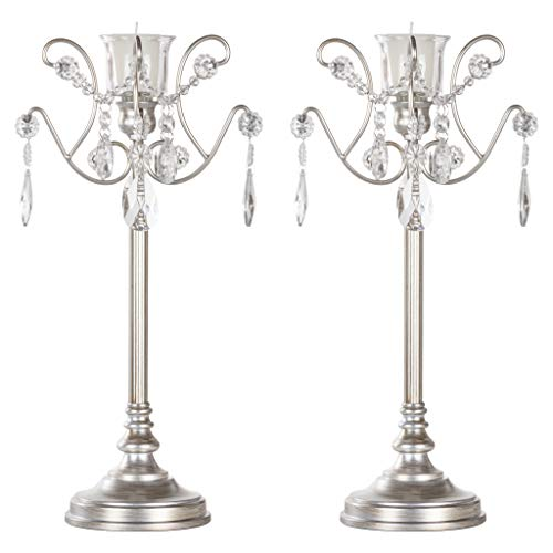 AMALFI DÉCOR Tiffany 2-Piece Vintage Silver Metal Candelabra Set, Votive Candle Taper Candlestick Holder Accent Stand