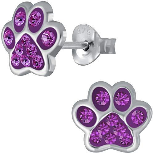 JAYARE Kinder Ohrringe Hunde Pfoten 925 Sterling Silber lila Glitzer Ohrstecker Hundepfote Kinderohrringe Mädchen Katzen Mädchenohrstecker
