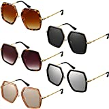 5 Pieces Oversized Sunglasses Irregular Hexagon Glasses Multi-Design Frame Vintage Eyewear for Women