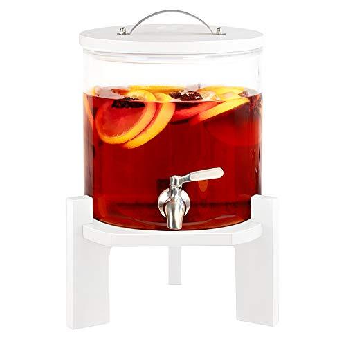 Navaris 5L Getränkespender mit Zapfhahn aus Edelstahl - Glas Wasserspender mit Stand aus Buchen Holz - Spender aus hitzebeständigem Borosilikatglas