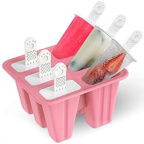 Eisformen Eis am Stiel Silikon, GEYUEYA Home 6 Eislutscherform Popsicle Formen Set Eisstange Gefrorenes Stieleisformer Wiederverwendbar Eisform Ice Pop Maker, BPA Frei