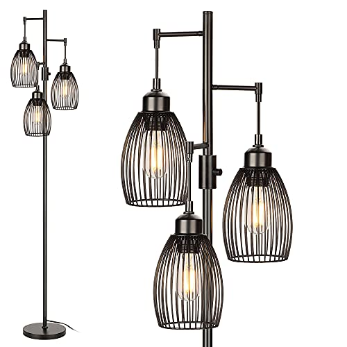 Dimmable Floor Lamp, Industrial Floor Lamps for Living Room, Black Tree Lamp Rustic Tall Lamps Standing Lamp with 6W LED Bulbs for Bedrooms Living Room