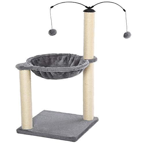 PawHut 72cm Cat Tree Tower with Sisal Scratching Post Hammock Cat Play House Dangling Ball Kitten Activity Center Furniture Grey