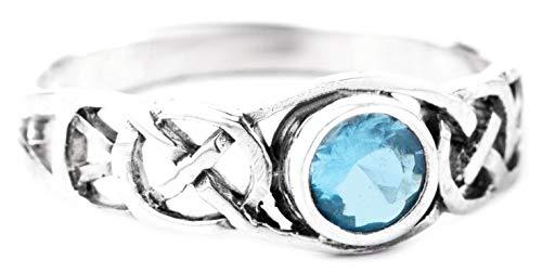 WINDALF Keltischer Damenring TÂMIA 6 mm Blauer Kristall Verlobungsring 925 Sterlingsilber (Silber, 62 (19.7))