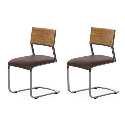 Marca Amazon - Alkove - Hayes - Set de 2 sillas modernas de madera maciza con asiento tapizado (robl