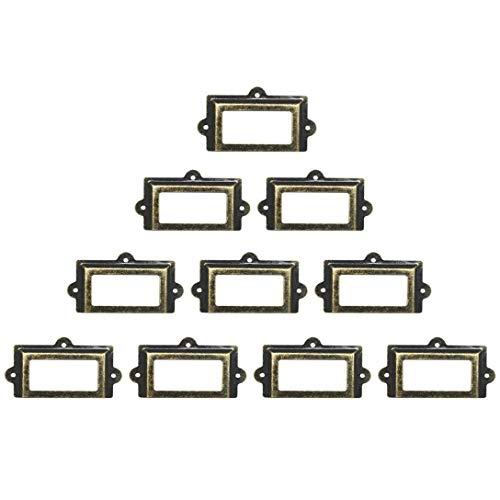 10 Stück große 107 mm x 60 mm Kartenhalter Schublade Zieh/Etikettenrahmen Kartenhalter Etikettenhalter Schrankrahmen Griff Datei Namenskarten Halter – Metall Kunst Bronze Ton mit Schrauben
