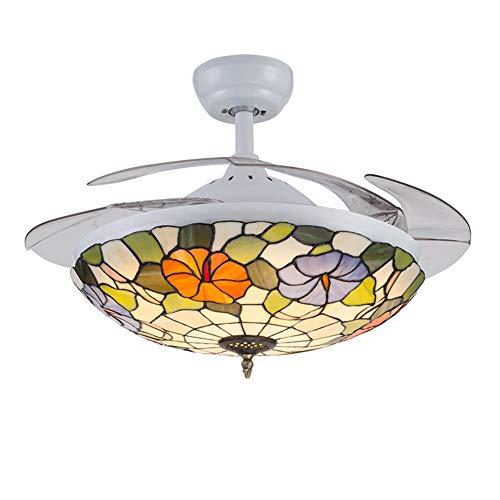 Ventilador de techo Tiffany Estilo invisible con 4 cuchillas de iluminación, luz pendiente del vidrio manchado barroco Pantalla LED de atenuación con mando a distancia,White 42in * remote control