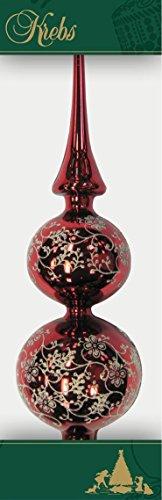 Puntale doppio per albero di Natale con decorazione, 33cm Rosso lucido