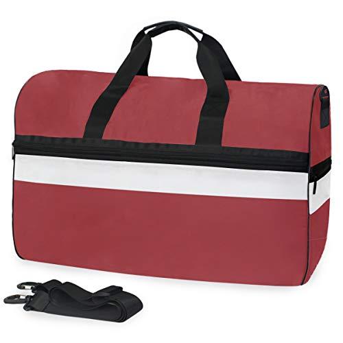 All3DPrint Lettland Fahne Reisetasche Gym Fitness Tasche mit Schuhfach