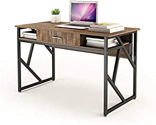 "Computer Desk with Drawer DEWEL 47"" Executive Desk Office Writing Desk PC Laptop Workstation Space-Saving Study Desk with Storage for Home Office Study Rustic Easy Assembly"