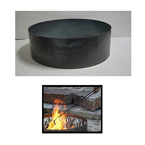 PD Metals Steel Campfire Fire Ring Solid Design Unpainted with Fire Poker Extra Large 60 d x 12 h