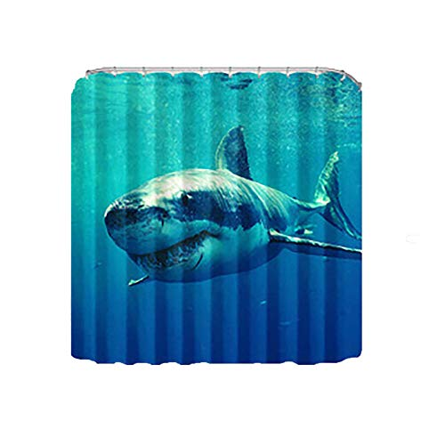 Wangxin Polyester Shower Curtain, 3d Digital Printing, Thick Waterproof Shower Curtain, High-Definition Partition Shower Curtain shark-180x180cm