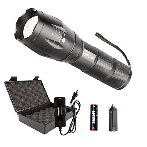 LED Flashlight with Rechargeable Battery & Charger,COSOOS Tactical Flashlight,1000-Lumen Flashlight,Zoomable Waterproof Flash Light,5 Modes,Portable for Camping,Ready for Hurricane,Support AAA Battery