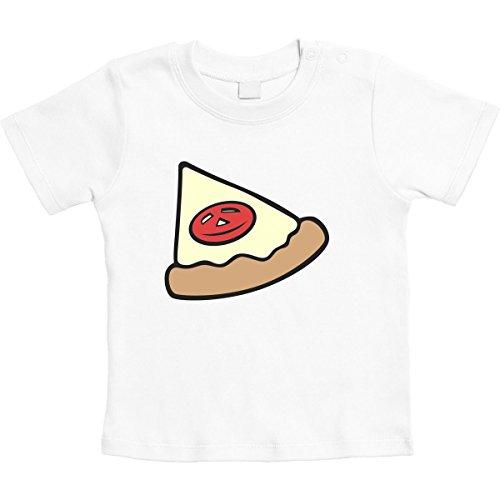 Baby Pizza Stück Shirt - Partnerlook Eltern Kind Unisex Baby Thirt 3-6 Monate Weiß