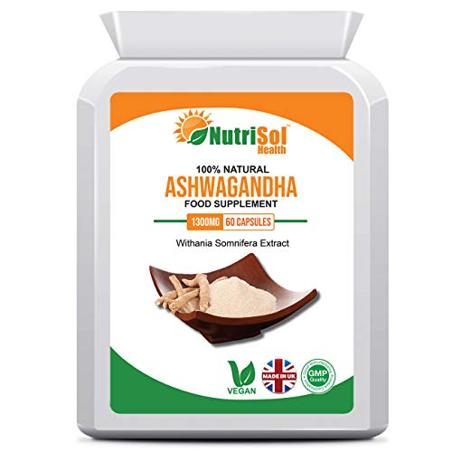 NutriSol Health Ashwagandha 1300mg 60 Vegan Capsules   Ashwaganda Root Extract   Indian Ginseng   Withania Somnifera   100% Natural GMP Quality Food Supplement Made in The UK