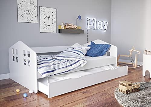 Children's Beds Home - Cama individual Juno - Para Niños Niños Niño Junior - Tamaño 140x80, Color Blanco, Cajón Ninguno, Colchón 10 cm Espuma / Coco