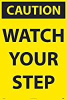 NMC SFS103C Caution - Watch Your Step - 24 in. x 36 in. Corrugated Plastic Caution Sign with Yellow/Black Text on Black/Yellow Base