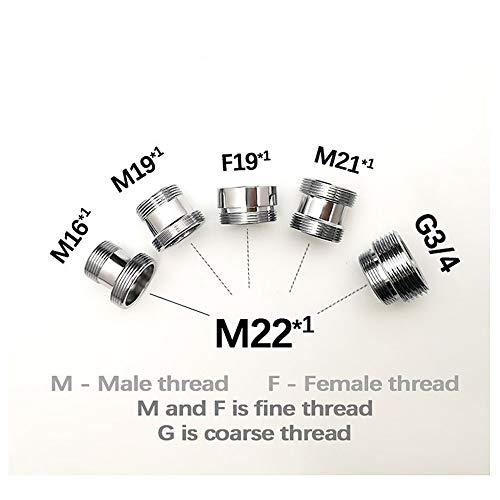 Wgd Jietou 1pc Exterior Adaptador M22 Rosca Macho De Transferencia M16 M19 M21 M22 Conector Hembra De Baño Cocina Latón Accesorios Grifo (Size : F19-M22)
