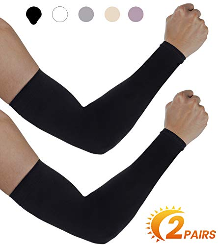 Aegend UV Protection Cooling Arm Sleeves - UPF 50 Sun Sleeves - for Men & Women for Cycling, Running, Basketball, Football, Golf, Volleyball, Driving, Black 2 Pairs