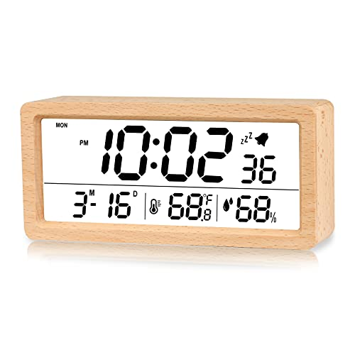 Digital Alarm Clock, Electronic LCD Time Display Wooden Desk Clock, Humidity & Temperature Wooden Electric Clocks for Bedroom/Bedside/Office