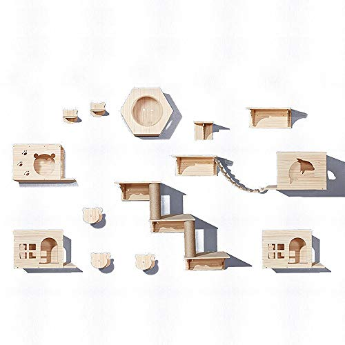 TXOZ-Q Kratzbaum Wandmontage Spielplatz Schritte Moderne Wand- Kitty Hideaway Plattform Climber Beige Braun, Holz