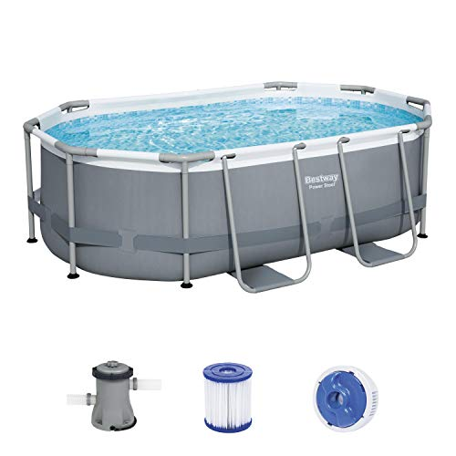 BESTWAY 5614A - Piscina Desmontable Tubular Power Steel Oval 305x200x84 cm con Depuradora Cartucho 1.249 L/H