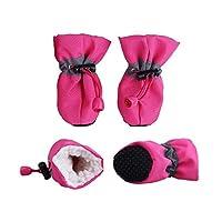 4ピースペット犬冬靴アンチスリップ防水雨雪ブーツ厚く暖かい靴用小さな猫犬子犬犬ソックスブーティー-Pink-L