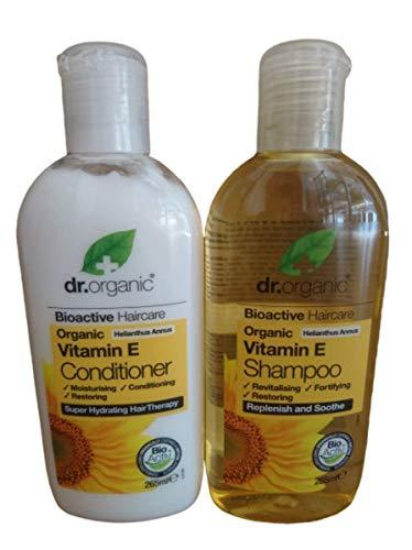 Dr Organic Vitamin E Shampoo and Dr Organic Vitamin E Conditioner (265ml) 1 Bottle of Each