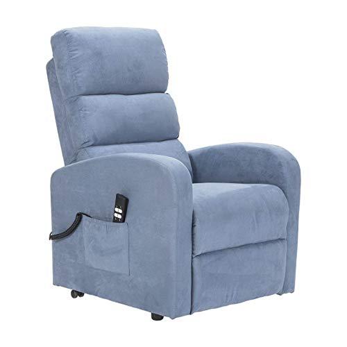 SIME POLTRONE Poltrona Relax alzapersona elettrica, reclinazione DETRAIBILE 19% Personalizzabile Accessori e Consegna Domicilio - Robin-1M-CS-MISKY Azzurro Microfibra
