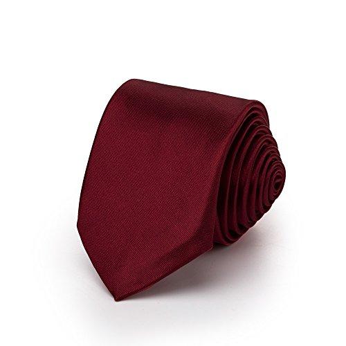 Rusty Bob - Krawatte schmal/dünn 3cm-5cm für Herren [auch für Kinder/Jungen] (uni,nicht gestreift) aus Polyester glänzt wie Seide - Dunkelrot-Weinrot