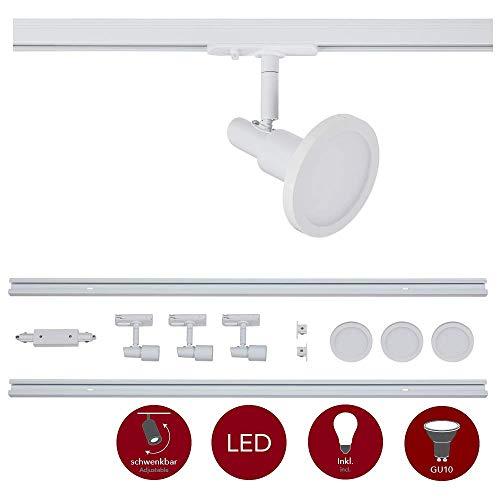 famlights 1-Phasen Schienensystem-Set Weiß 2m inkl. 3 Spots und Leuchtmittel GU10   zur individuellen Innen-Beleuchtung, schwenkbare Decken-Spots, Strahler-Schiene, Deckenstrahler, Deckenleuchte