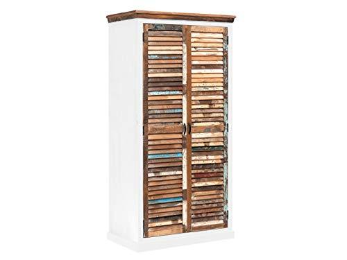 Woodkings® Kleiderschrank Perth Holz weiß 2türig, recyceltes Massivholz Lamellentüren antik, Flurschrank Vintage, Flurmöbel, Dielenschrank, Holzschrank