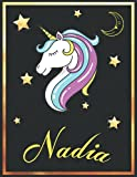 Nadia: Personalized Unicorn Sketchbook For Girls & Women With Elegant Golden Name Frame and Stars - 8.5 x 11 inches, 100 Pages White Paper Black Cover ... Doodle Create and Taking Note ) MUST SEE !!!