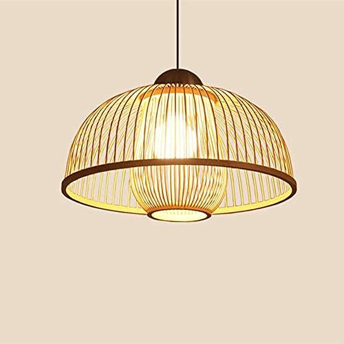 wangch Candelabro Tejido de bambú Retro Creativo Candelabro Hecho a Mano de Mimbre para pájaros Bar Restaurante Iluminación Decoración Pantalla Lámpara Colgante para el hogar E27 Ajustable