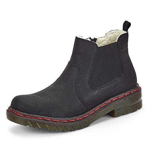 Rieker Damen Stiefeletten, Frauen Chelsea Boots, Women Woman Freizeit leger Stiefel halbstiefel Bootie Schlupfstiefel Lady,schwarz,39 EU / 6 UK