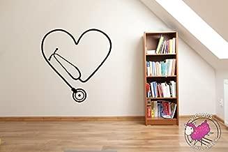 Stethoscope Heart Cutout (BLACK) Vinyl 30 inch Wall Decal Sticker Home Decor Stickers MacBook Laptop Car Love Nursing Tough Strength Strong Strength Hope Inspiration Love Doctor Nurse Veterinarian Health Medicine Hospital Med School
