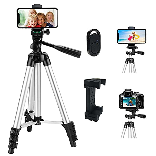 Phone Tripod Stand,42-Inch Extendable Lightweight Aluminum Tripod for...