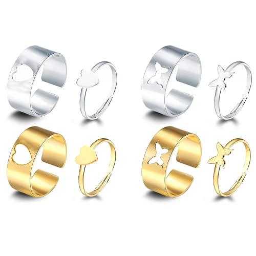 Gloryit 4 pares de anillos Anillo de pareja Anillos amistad Anillos corazón de mariposa ajustables Se pueden usar como anillo de amistad y amor para amigos y amantes Anillo bodas para un aniversario