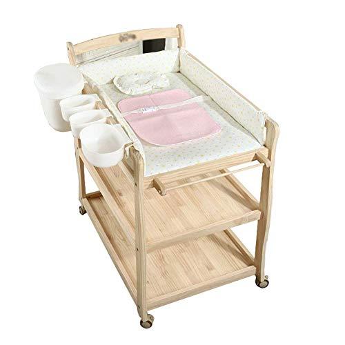 ACZZ Wickelkommode mit Aufbewahrungsbox, Wickeltisch auf Rädern (Naturholz)