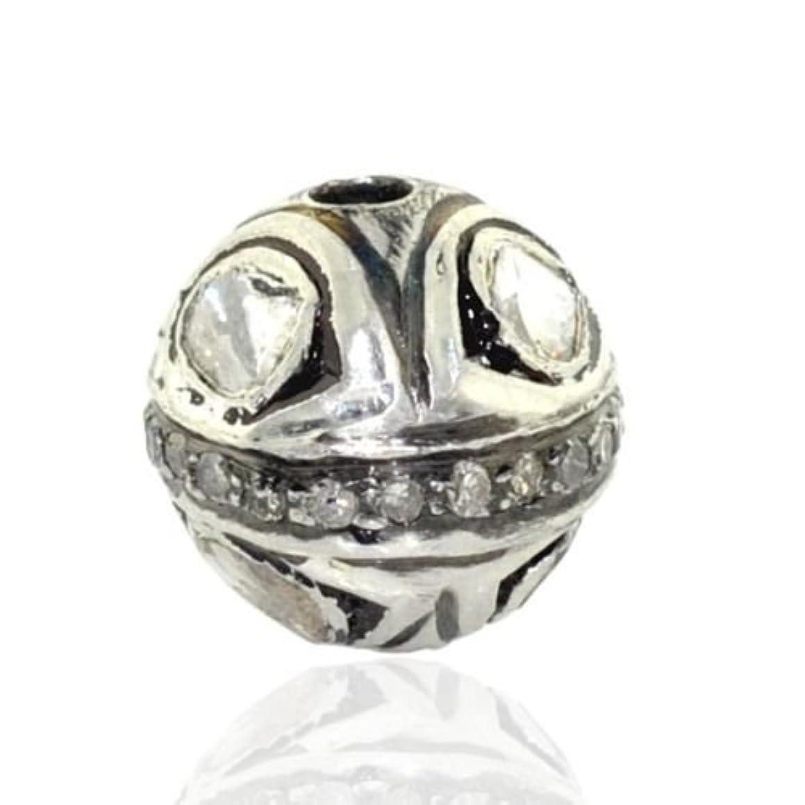 Rose Cut Diamond Silver 13mm Bead Ball Jewelry making supply- PJBE2043