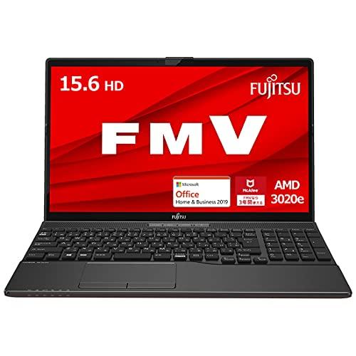 【公式】 富士通 ノートパソコン FMV LIFEBOOK AHシリーズ WAB/E3 (Windows 10 Home/15.6型ワイド液晶/AMD 3020e/8GBメモリ/約256GB SSD/スーパーマルチドライブ/Office Home and Business 2019/ブライトブラック)FMVWE3AB14_AZ/富士通WEB MART専用モデル[10/5まで・台数限定]