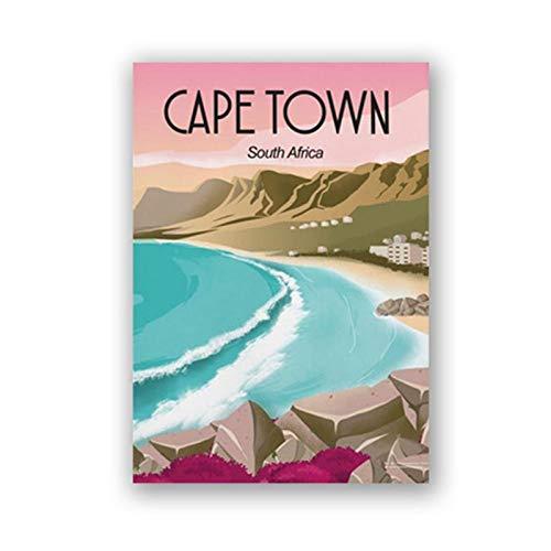 zhaoyangeng Kapstadt Südafrika Reise Poster Drucke Strand Landschaft Kunst Leinwand Malerei Wandbild Home Decor Traveller Geschenk- 50X70Cm Ohne Rahmen