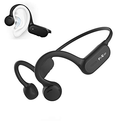 Bluetooth Knochenschall Kopfhörer Open Ear Sport Bone Conduction Anruf Mikrofon Kabellos Wireless Wasserdicht Headphones Stereo Musik (Schwarz