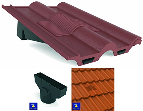 Antique Red Marley, Redland, Sandtoft Double Roman Roof In-Line Tile Vent Ventilator & Flexi Pipe Adaptor by Manthorpe