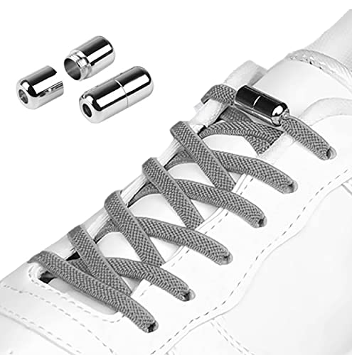 Hantoc 3 Paia Lacci per Scarpe Elastici Piatto, Elastici Lacci delle Scarpe Autobloccanti con Chiusura in Metallo No Tie Lacci Scarpe per Adulti e Bambini,Anziani 105cm Larghezza 5 mm Grigio