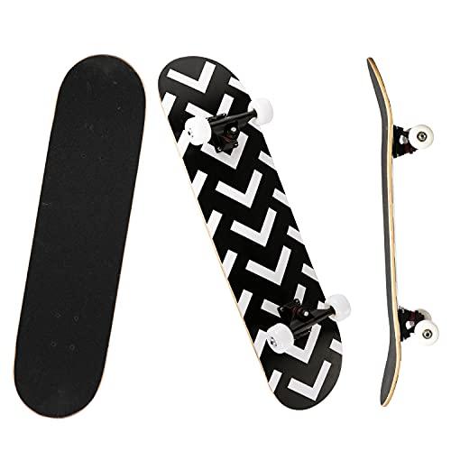YUDOXN Completo Skateboard para Principiantes, 80x20(cm) monopatín Skate Madera de Arce para...
